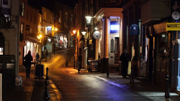 Durham City street at night